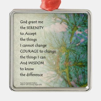 Serenity Prayer Pine Branches Metal Ornament