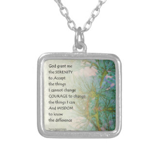 Serenity Prayer Pine Branches Silver Plated Necklace