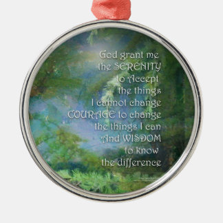 Serenity Prayer Pines Silver-Colored Round Ornament