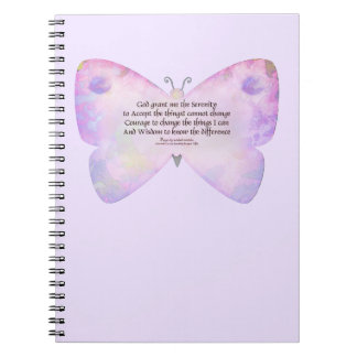 Serenity Prayer Pink and Lavender Butterfly Spiral Notebook