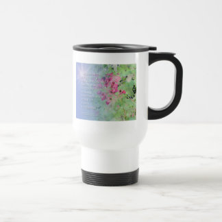 Serenity Prayer Pink Flowers Travel Mug