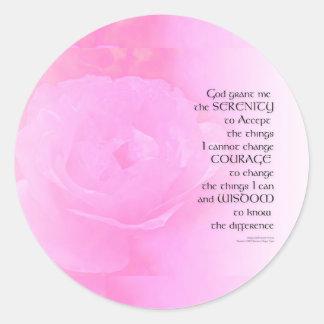 Serenity Prayer Pink Rose Blend Classic Round Sticker