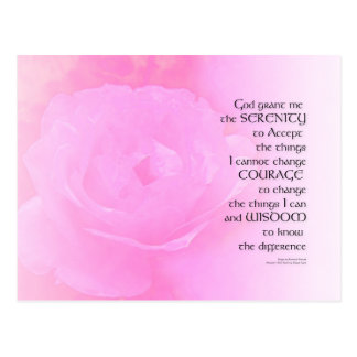 Serenity Prayer Pink Rose Blend Postcard