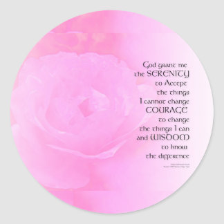 Serenity Prayer Pink Rose Blend Round Sticker