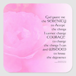 Serenity Prayer Pink Rose Blend Square Sticker