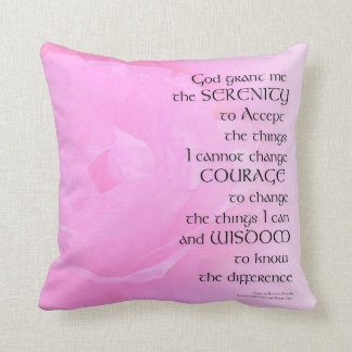 Serenity Prayer Pink Rose Blend Throw Pillow