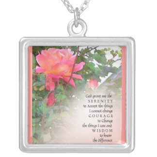 Serenity Prayer Pink Rose Necklace