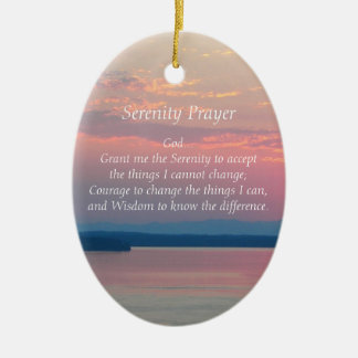 Serenity Prayer Pink Seascape Oval Ceramic Oval Ornament