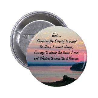 Serenity Prayer Pink Seascape Photo 2 Inch Round Button