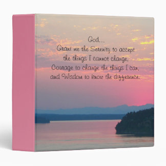 Serenity Prayer Pink Seascape Photo 3 Ring Binders
