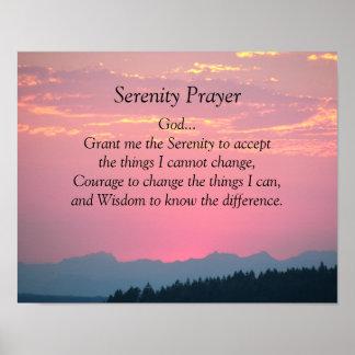 Serenity Prayer Pink Sunset Photo Poster