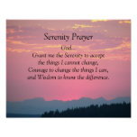 Serenity Prayer Pink Sunset Poster