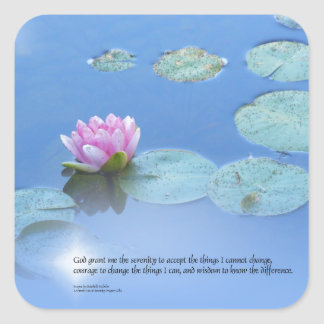 Serenity Prayer Pink Water Lily Square Sticker