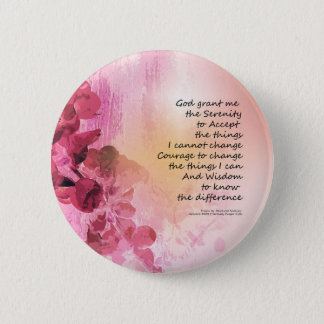 Serenity Prayer Quince Fence 3 Pink 2 Inch Round Button
