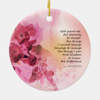 Serenity Prayer Quince Fence 3 Pink Ceramic Ornament