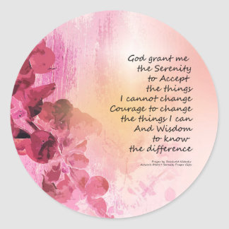 Serenity Prayer Quince Fence 3 Pink Classic Round Sticker