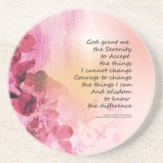 Serenity Prayer Quince Fence 3 Pink Coaster
