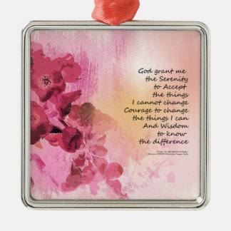 Serenity Prayer Quince Fence 3 Pink Metal Ornament