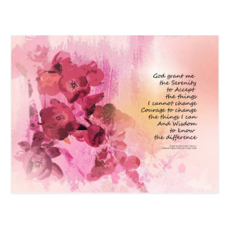 Serenity Prayer Quince Fence 3 Pink Postcard