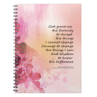 Serenity Prayer Quince Fence 3 Pink Spiral Notebooks