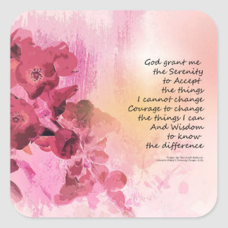 Serenity Prayer Quince Fence 3 Pink Square Sticker
