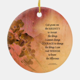 Serenity Prayer Quince Fence One Ceramic Ornament