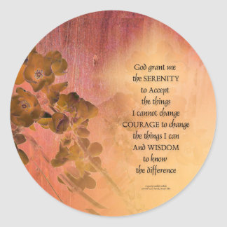 Serenity Prayer Quince Fence One Classic Round Sticker