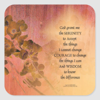 Serenity Prayer Quince Fence One Square Sticker