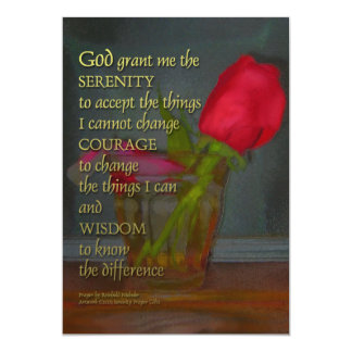 Serenity Prayer Rose in Glass Card