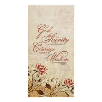Serenity Prayer: Rusty Floral, Strength/Recovery Personalized Photo Card