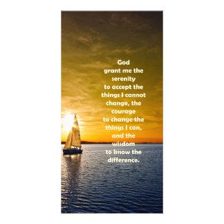 Serenity Prayer: Sailboat in Ocean, Strength/Recov Photo Cards