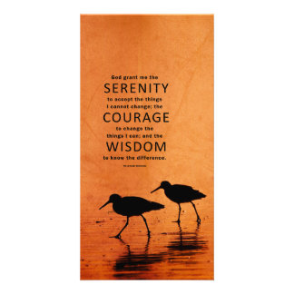 Serenity Prayer: Seagulls/Beach, Strength/Recovery Custom Photo Card