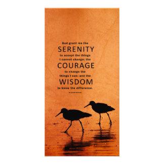 Serenity Prayer: Seagulls/Beach, Strength/Recovery Custom Photo Card