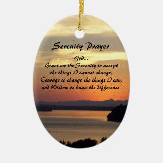 Serenity Prayer Seascape Sunset Oval Ceramic Ornament