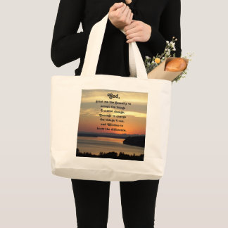 Serenity Prayer Seascape Sunset Photo Large Tote Bag