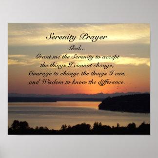 Serenity Prayer Seascape Sunset Photo Poster