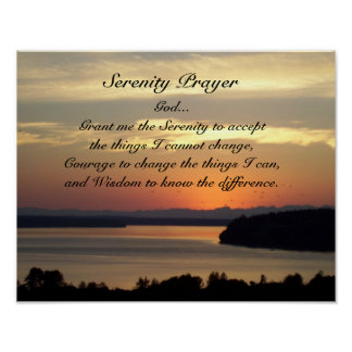 Serenity Prayer Seascape Sunset Poster
