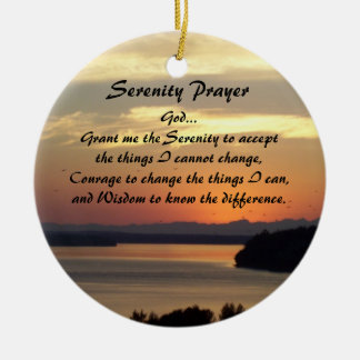 Serenity Prayer Seascape Sunset Round Ceramic Ornament