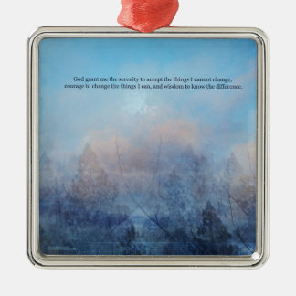 Serenity Prayer Sky and Trees Abstract Metal Ornament