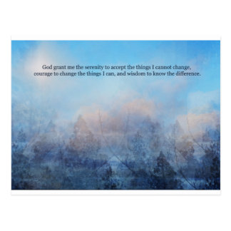 Serenity Prayer Sky and Trees Abstract Postcard
