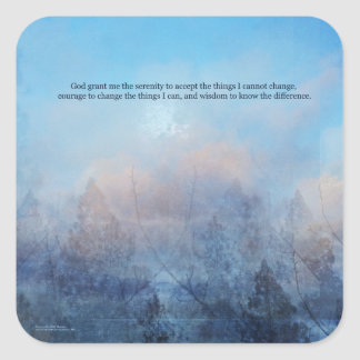Serenity Prayer Sky and Trees Abstract Square Sticker