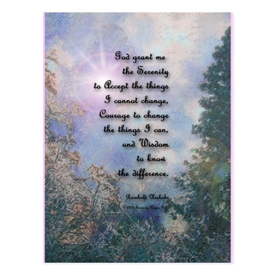 Serenity Prayer Sky Glow 2 Postcard