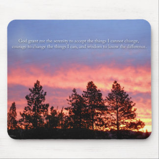 Serenity  Prayer Sunrise Blue Orange Mouse Pad