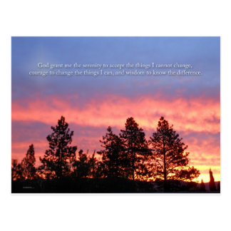 Serenity  Prayer Sunrise Blue Orange Postcard