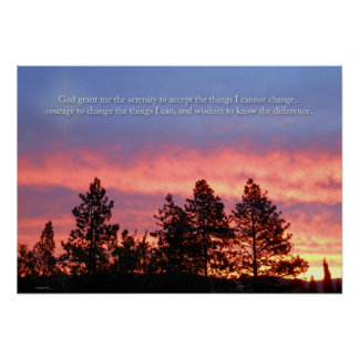 Serenity  Prayer Sunrise Blue Orange Poster