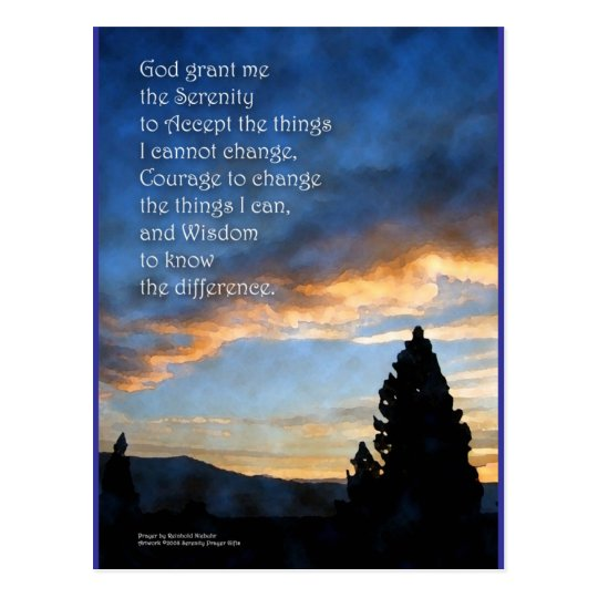 Serenity Prayer Sunrise Blue Postcard