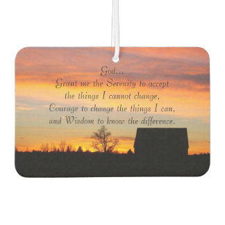 Serenity Prayer Sunset Silhouette Photo Car Air Freshener