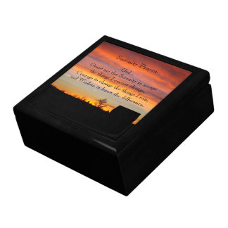 Serenity Prayer Sunset Silhouette Photo Jewelry Box