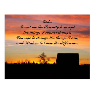 Serenity Prayer Sunset Silhouette Photo Postcard