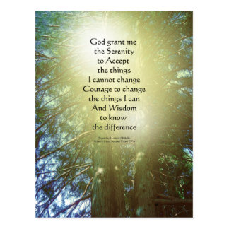 Serenity Prayer Tall Trees Two Postcard